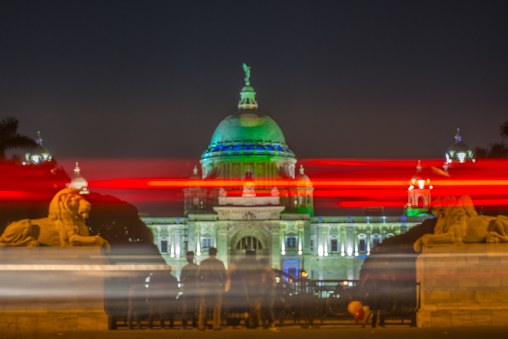 Light trail in front of Victoria Memorial, in Kolkata
