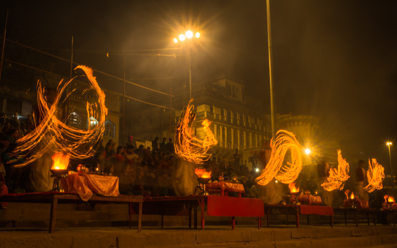 Arati of Ganges at Assi ghat in Varanasi, India