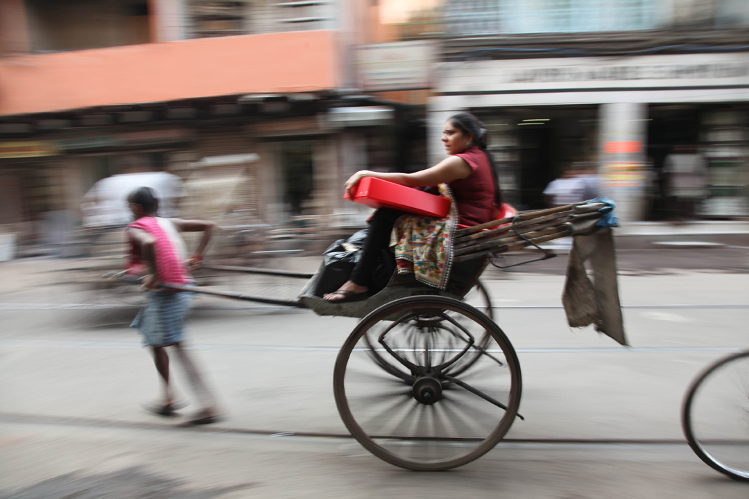 This photo depicts the hand pull vehicle of Calcutta