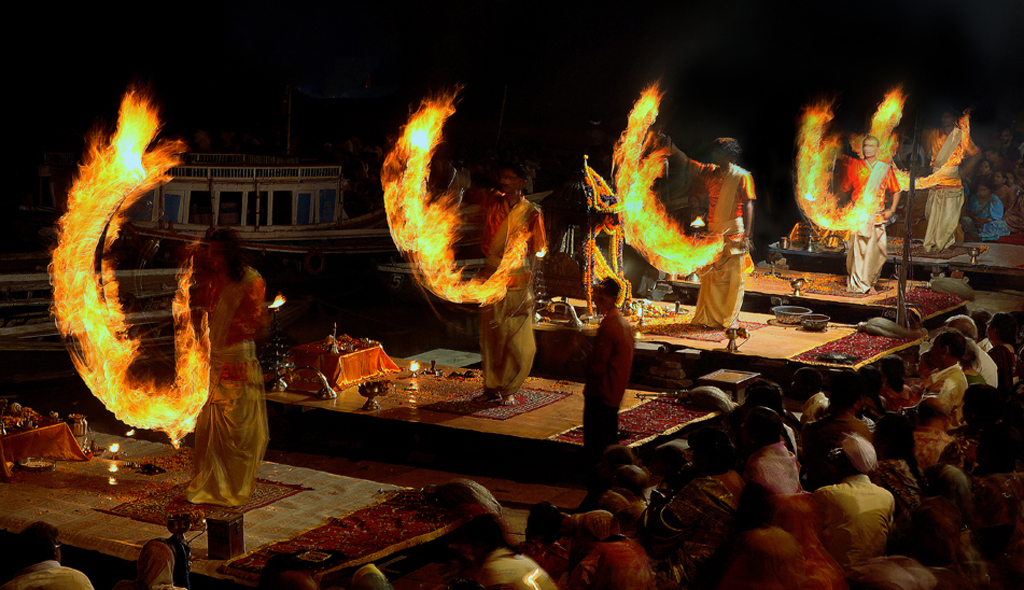 The beautiful aarati in Benaras