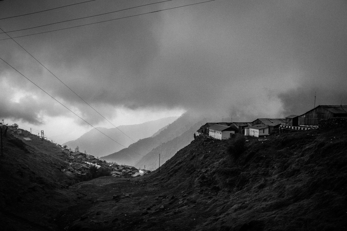 Before thunderstorm clouds are gathering in valley. Taken at Zuluk, East Sikkim.