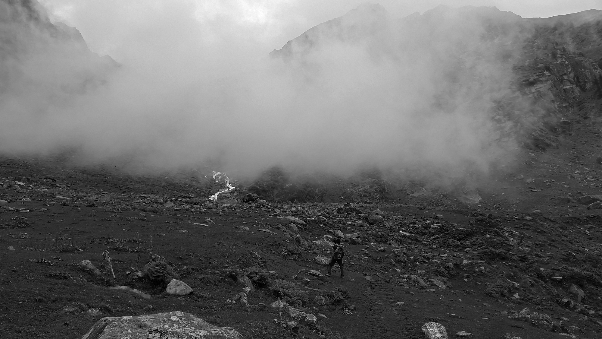 Visibility is down because of cloud. But his vision is clear to reach hampta pass (14,000 feet) , Himalaya.