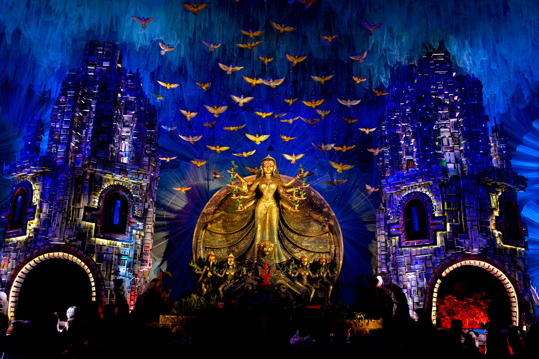 The blue ray with other color of lights gives a deep feeling of heavenly touch, a door step to reach the goddess Durga.