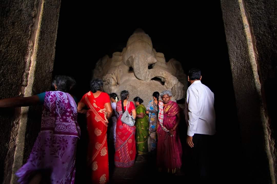 Image taken in Hampi , Monolith ganesha with his devotees