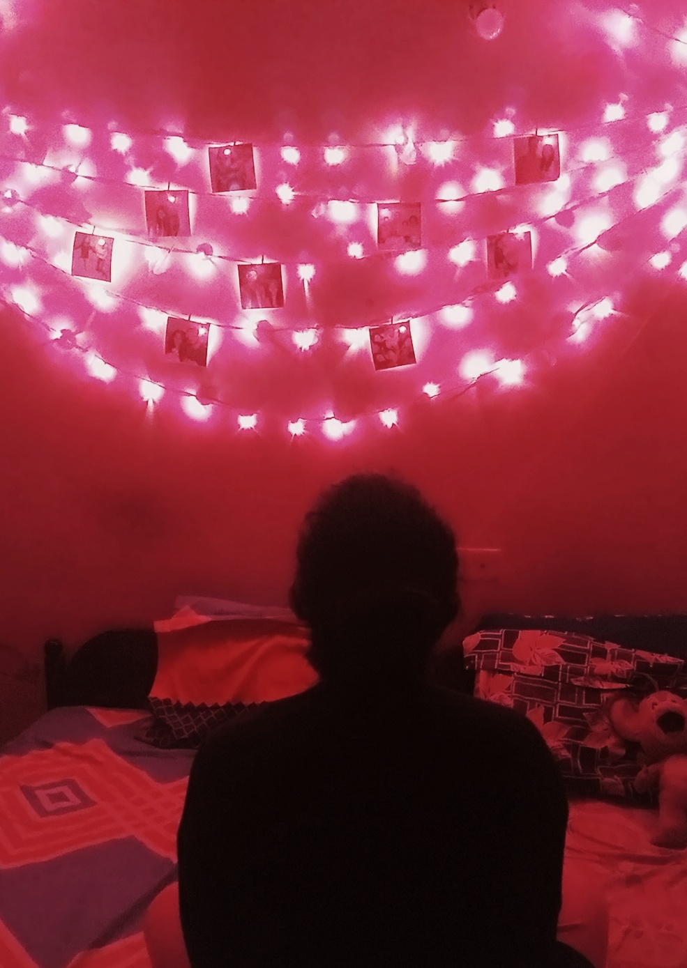 View of my home every night where the bright pink fairy lights decorations bring a tranquilizing feel.