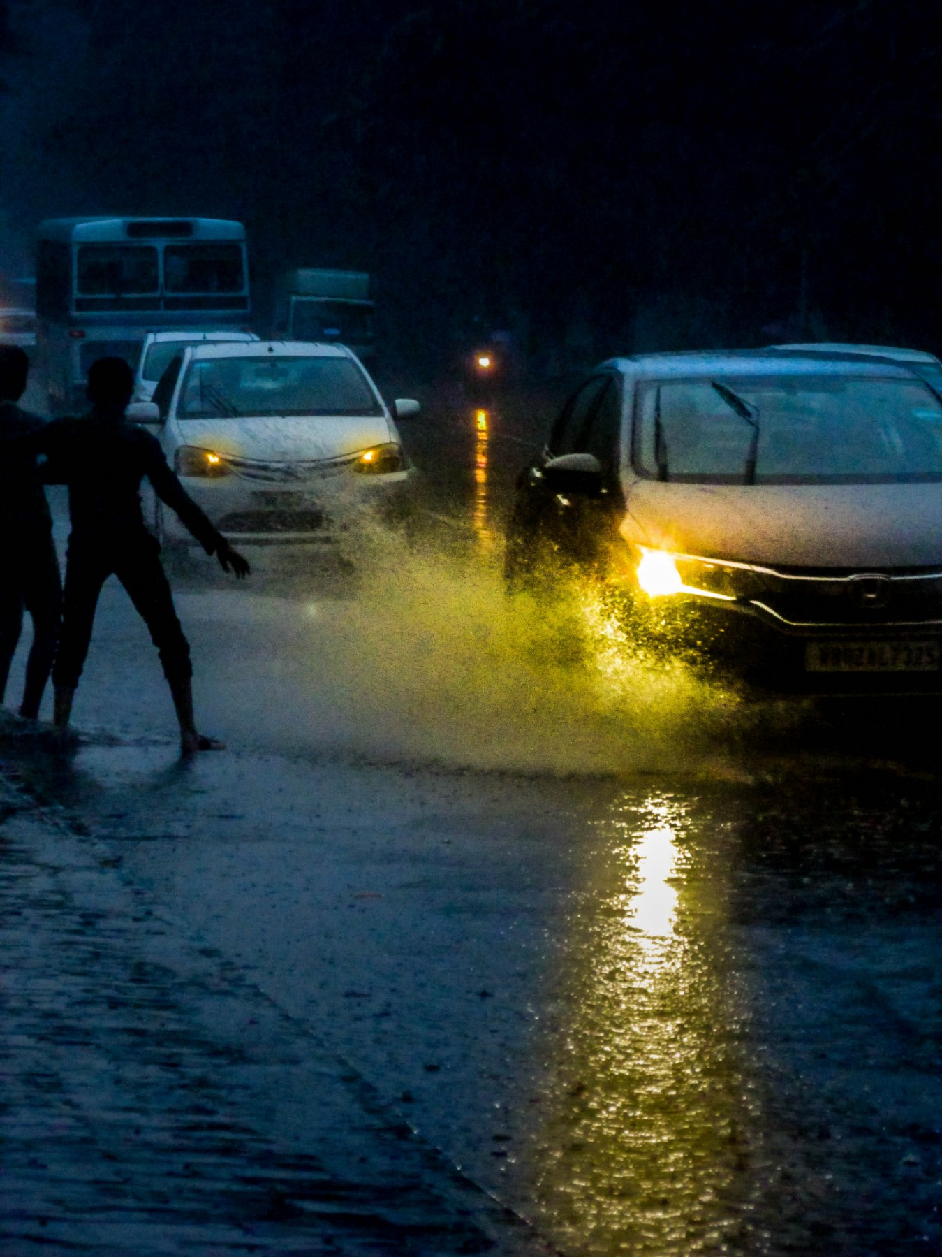 Roads in Kolkata, during monsoon.