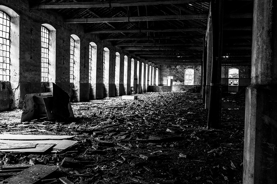 Chasing light in an abandoned factory.