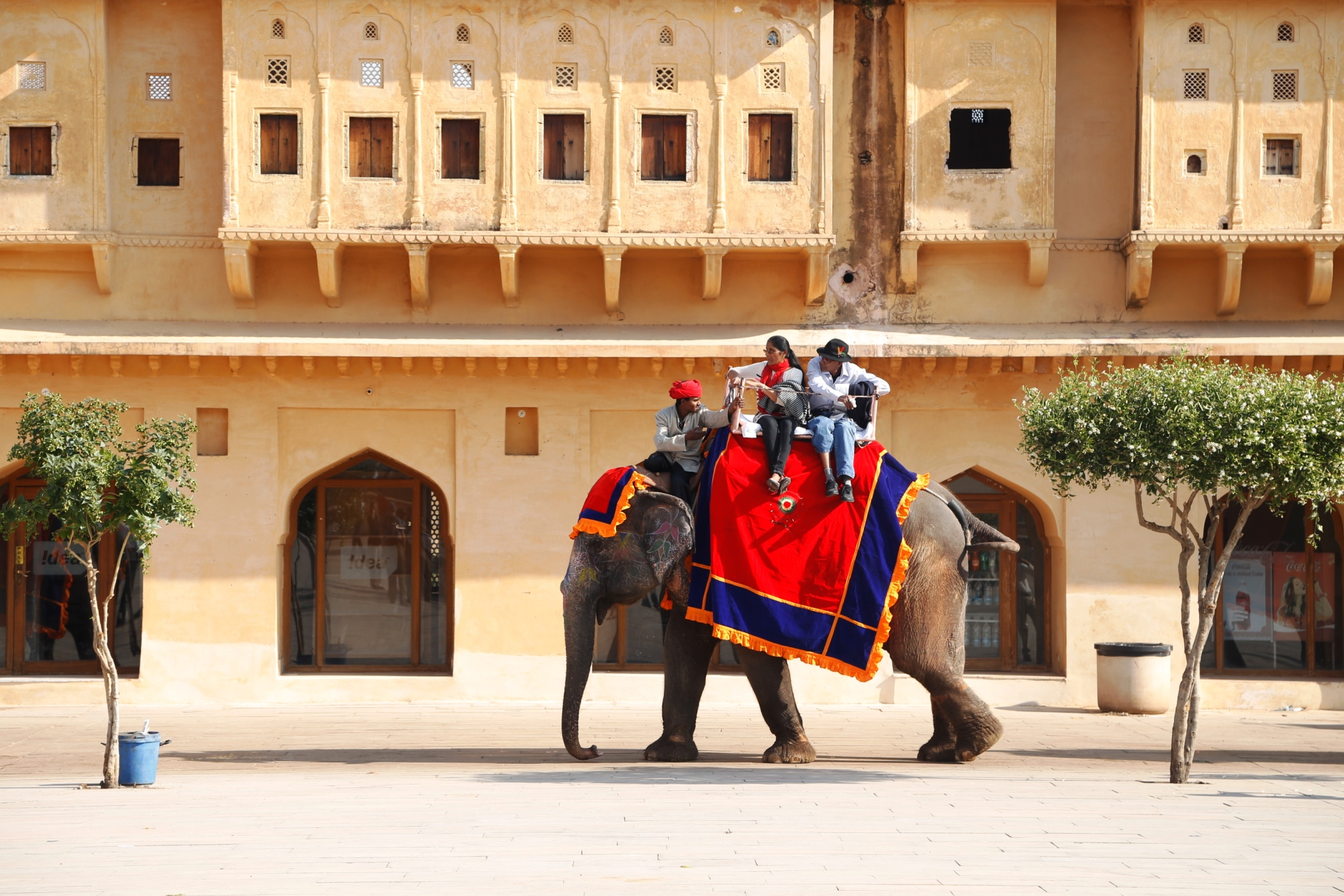 Tourists on an Elephant Ride at Amber palace in Jaipur