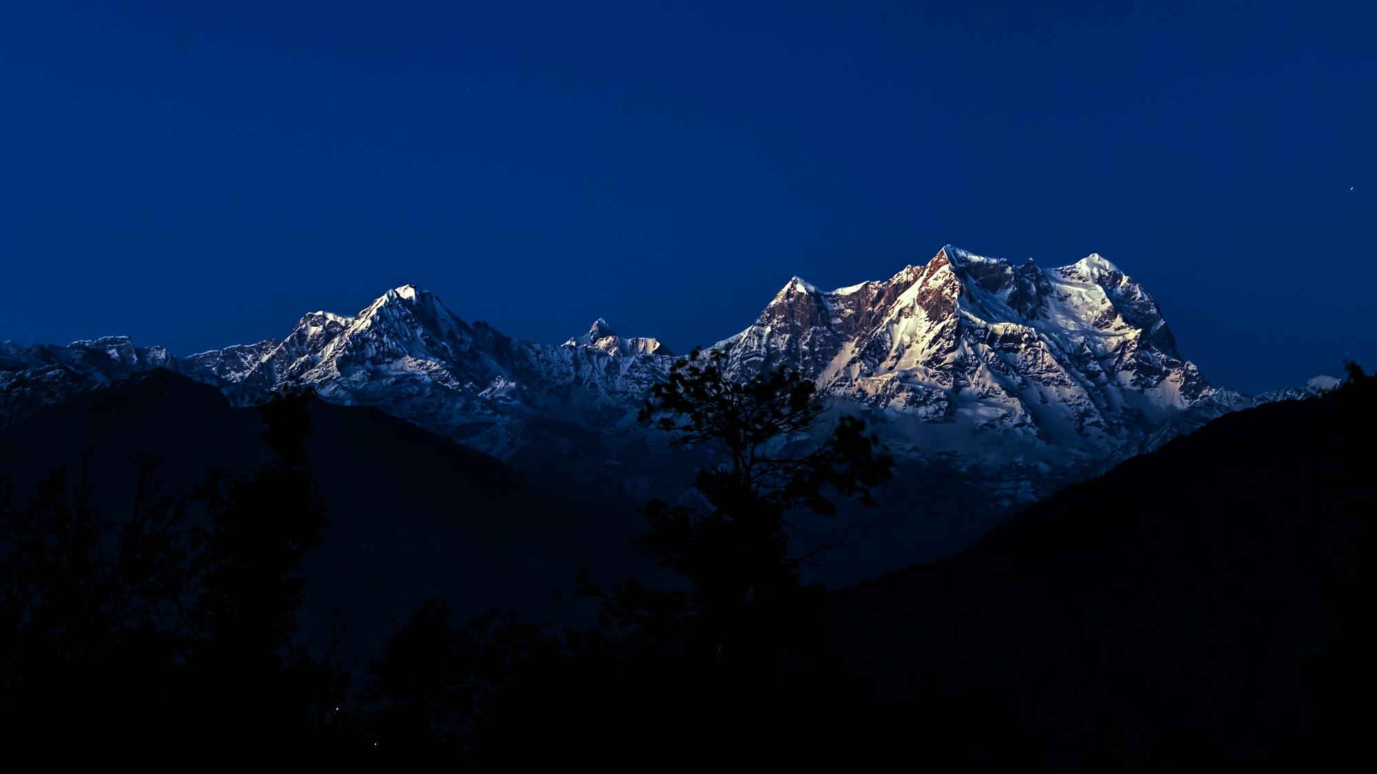 A Moonlight View of Chowkhamba Peak, Uttarakhand, India.