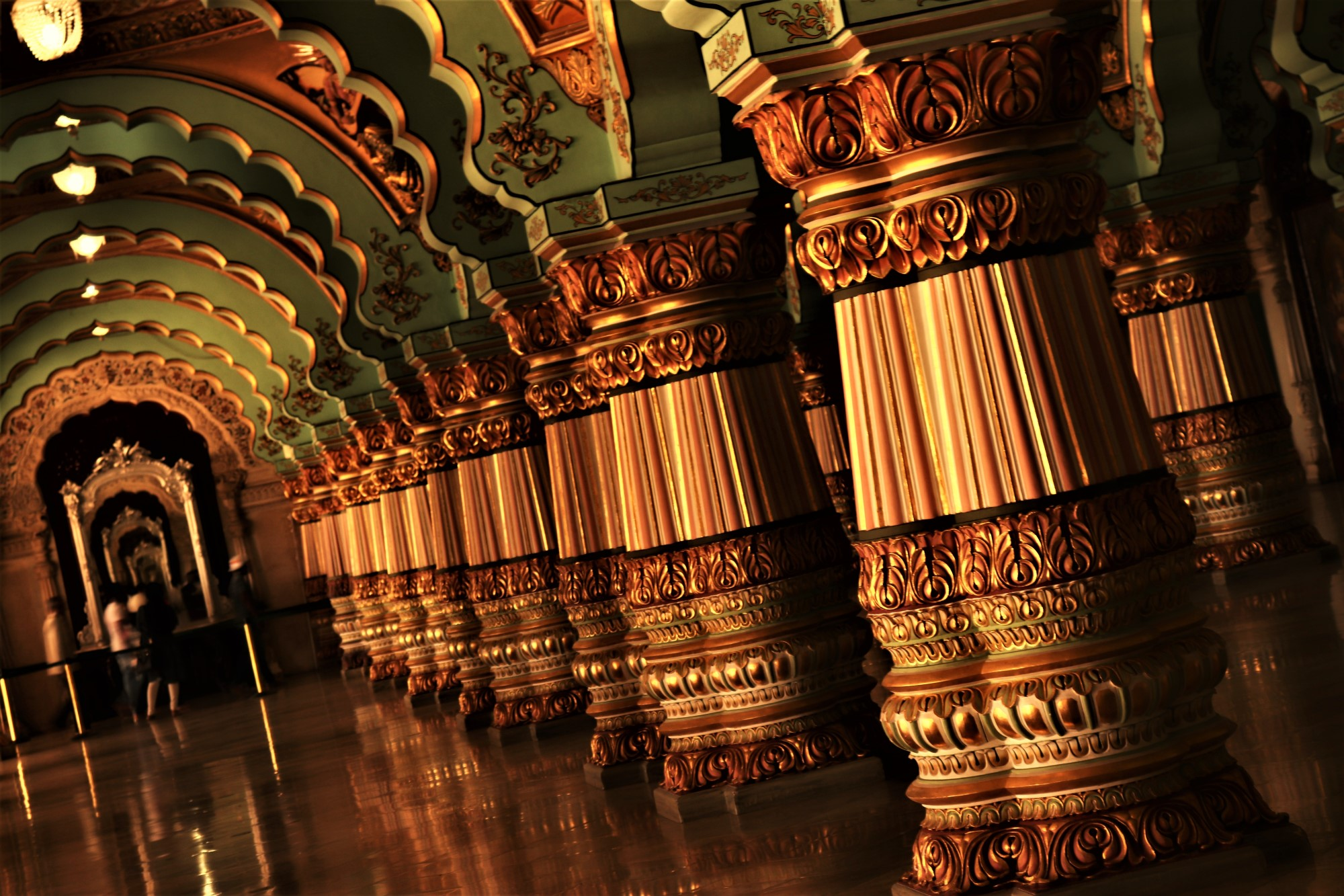 The beautiful Public Durbar hall in the iconic Mysore Palace.