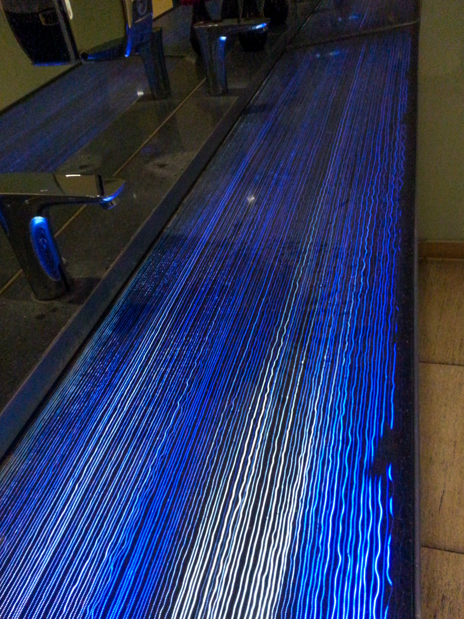 This beautiful light streaks were on the wash basin strip in the Europe restaurant!