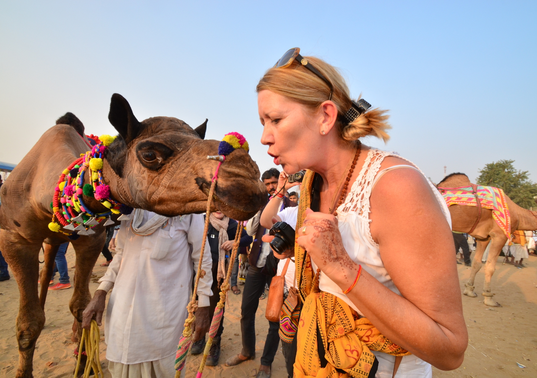 Every year Camel festival is celebrated with much fan fare  and a number of foreign tourists gather to  enjoy this festival. Suddenly I captured this funny picture.