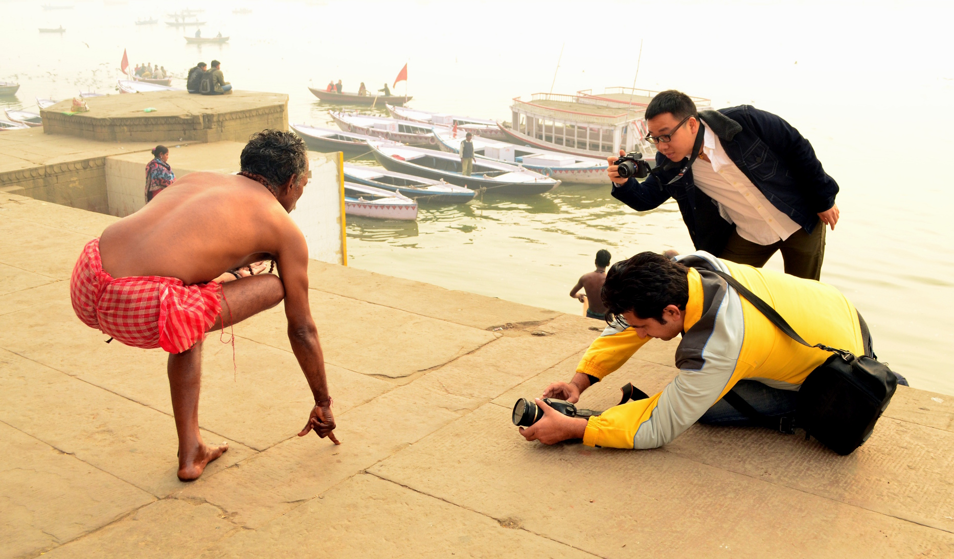Varanasi is called haven of all photographers of the World.  I very much like morning atmoshpere at Varanasi. Morning exercise of local habitants are  favourable  subject to me.