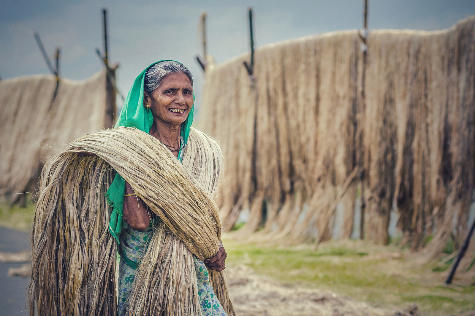 The old Grandma who is trying to make dry the bundles of jute.After completely drying she sell those to earn some money to survive , She really doing a very hard work and it's very important role in our jute industry.