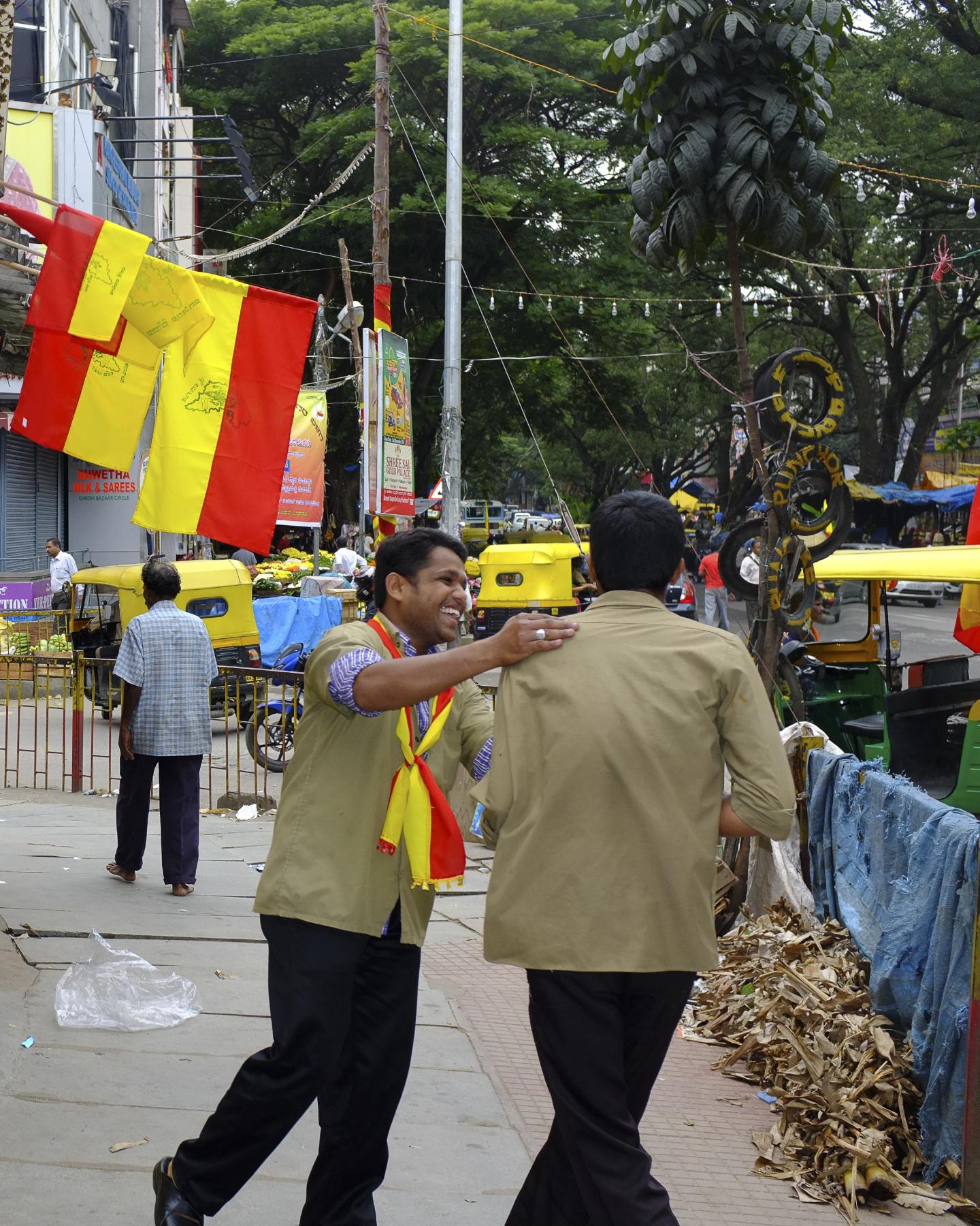 Auto drivers in a joyous  mood on Kaannaa Rajyotsava  Day