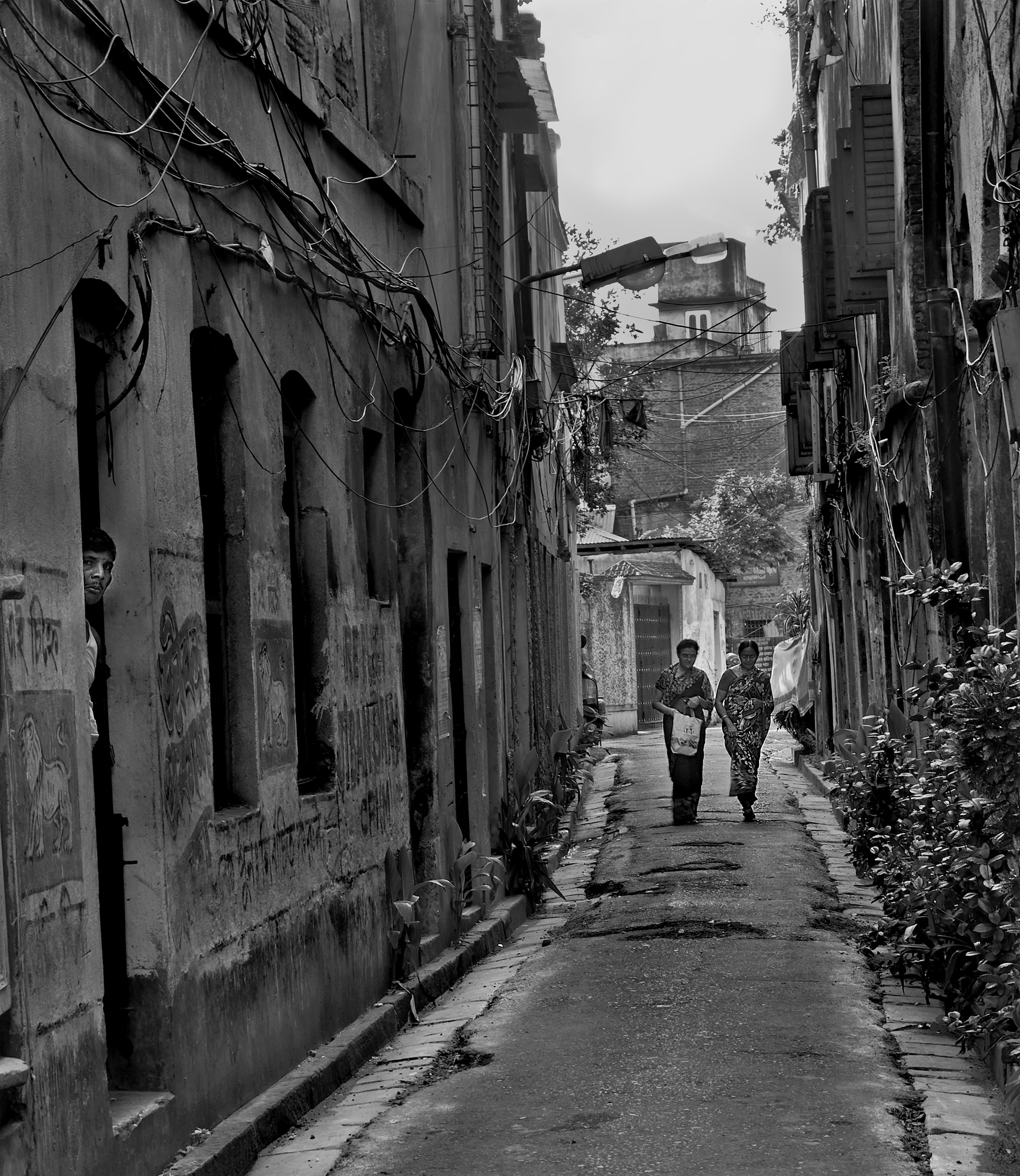 This is a photograph taken from an alley in north kolkata in west bengal india