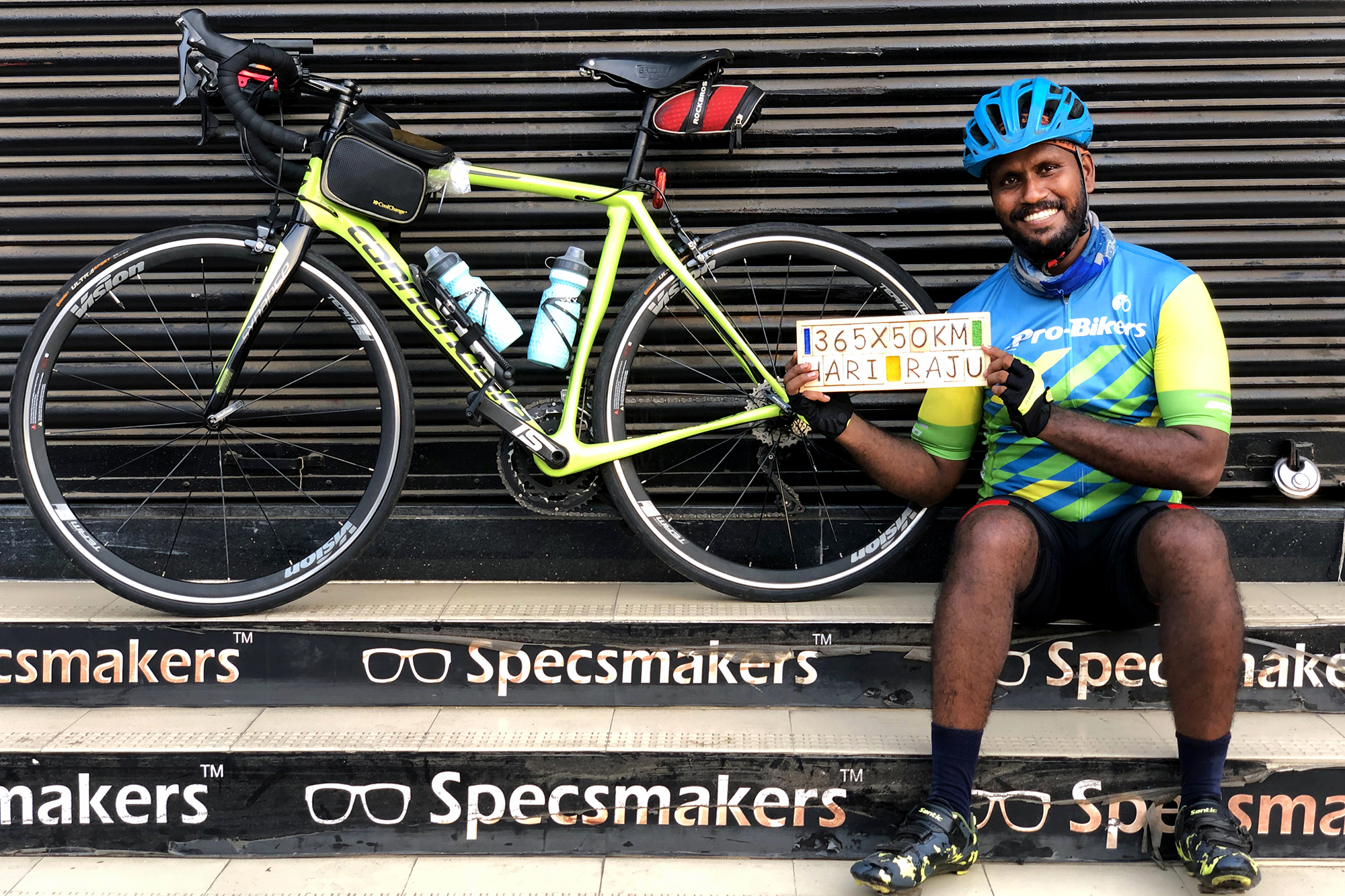 A cyclist from Chennai after successfully completing of his 365x50KM Challenge in May2019 where he cycled atleast 50KM everyday for continuous 365days!
