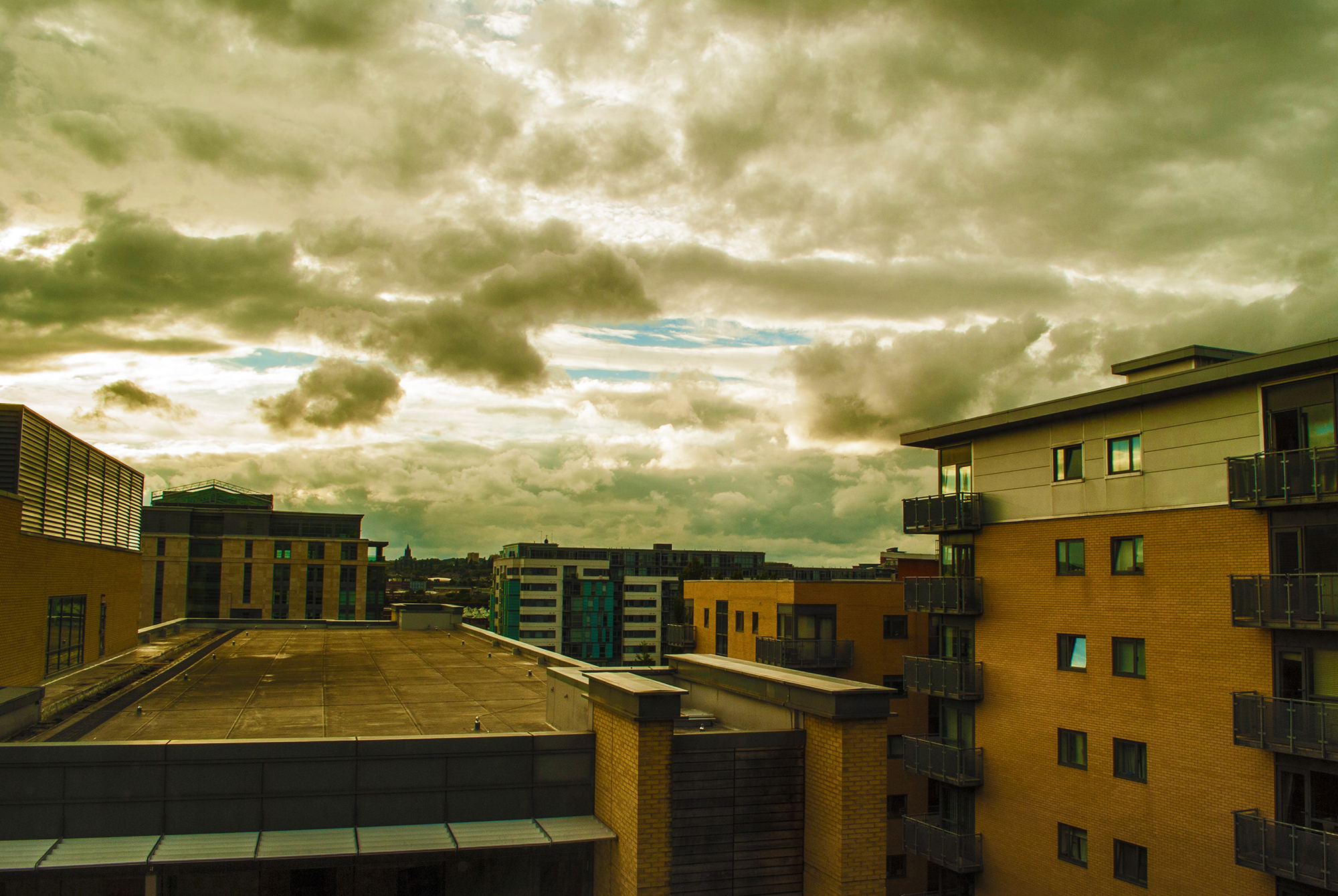 Heavenly drama unfolds as I enjoy the view of the clouds from my hotel room in Leeds, UK.