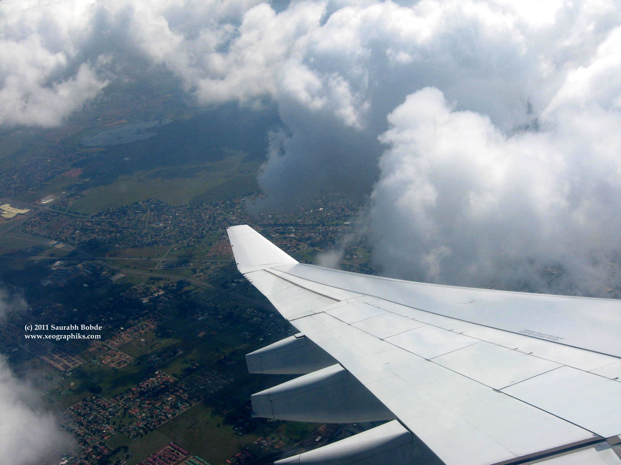 Thick clouds create a potential turbulent atmosphere for a flight.
