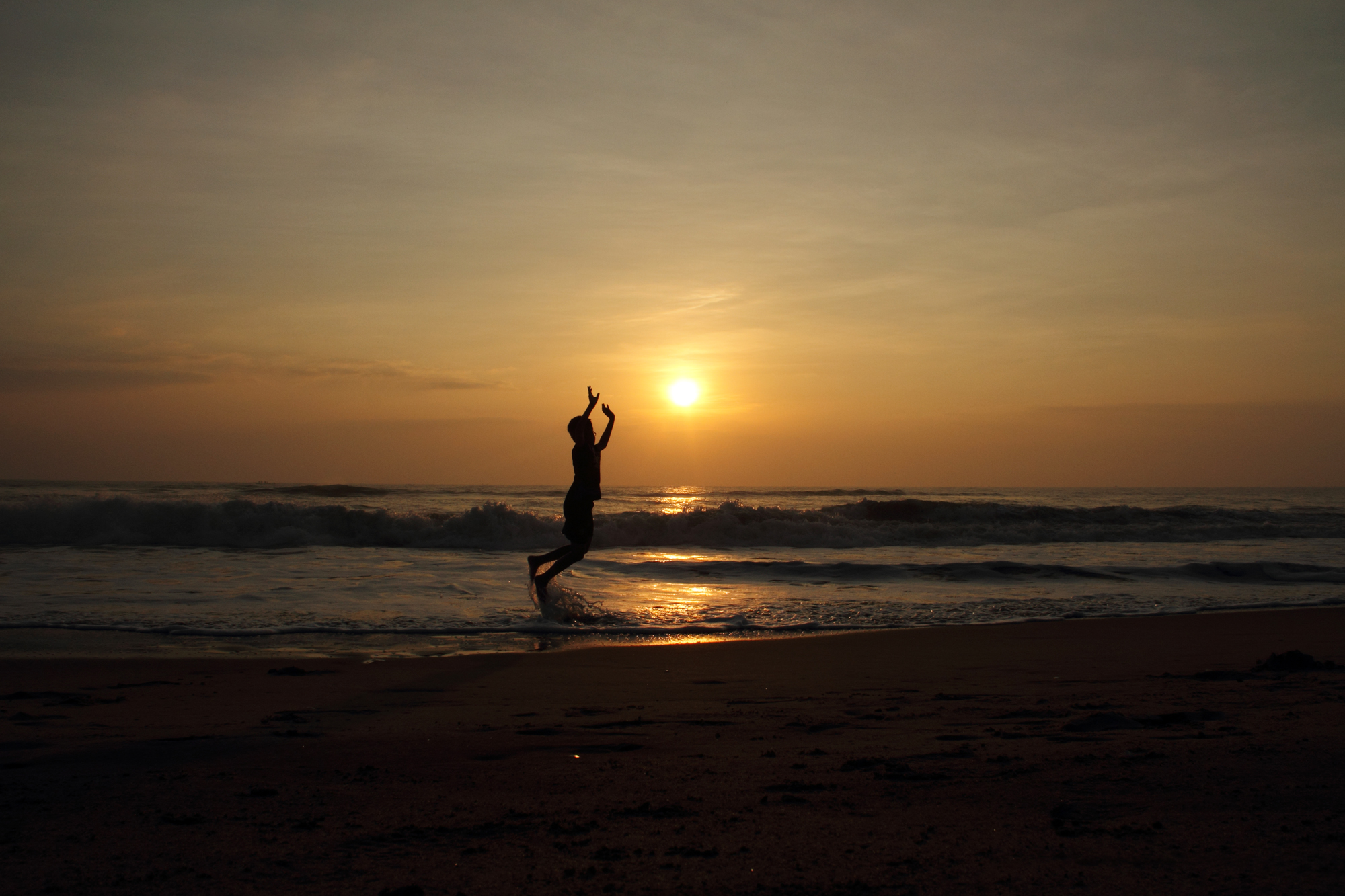 My son Anirudh playing on the Pondicherry beach.