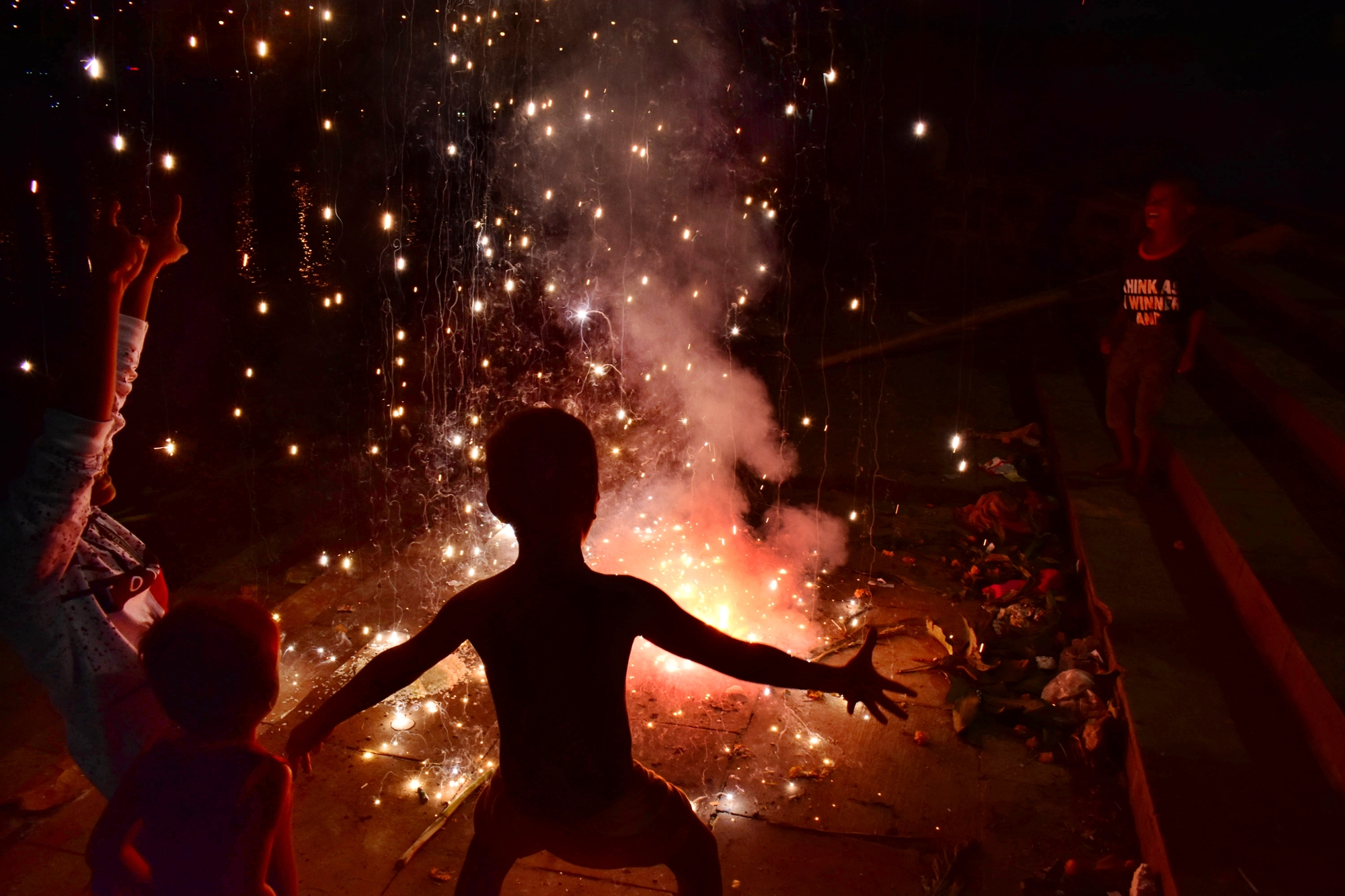 I capture celebration of Diwali festival in my city. Children's celebrated fireworks and enjoying the festival of Diwali night.