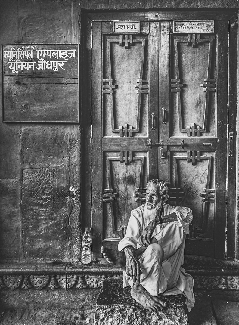 frame of old age with door