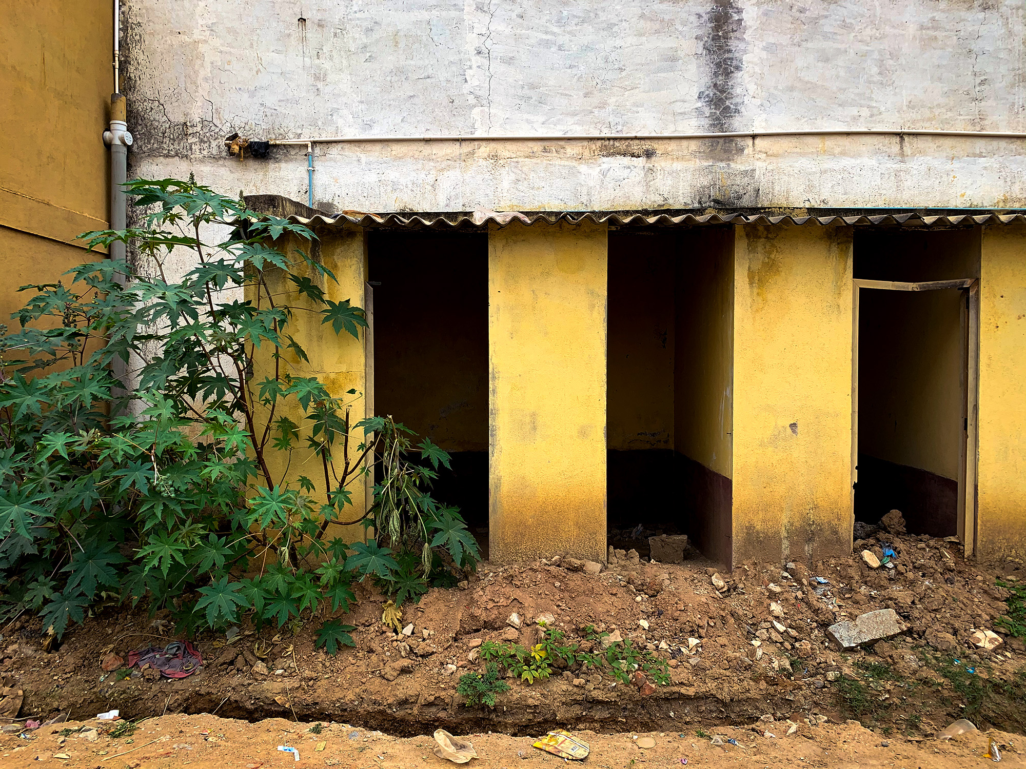Abandoned under construction toilets under the  Swach Bharat scheme in Bangalore.