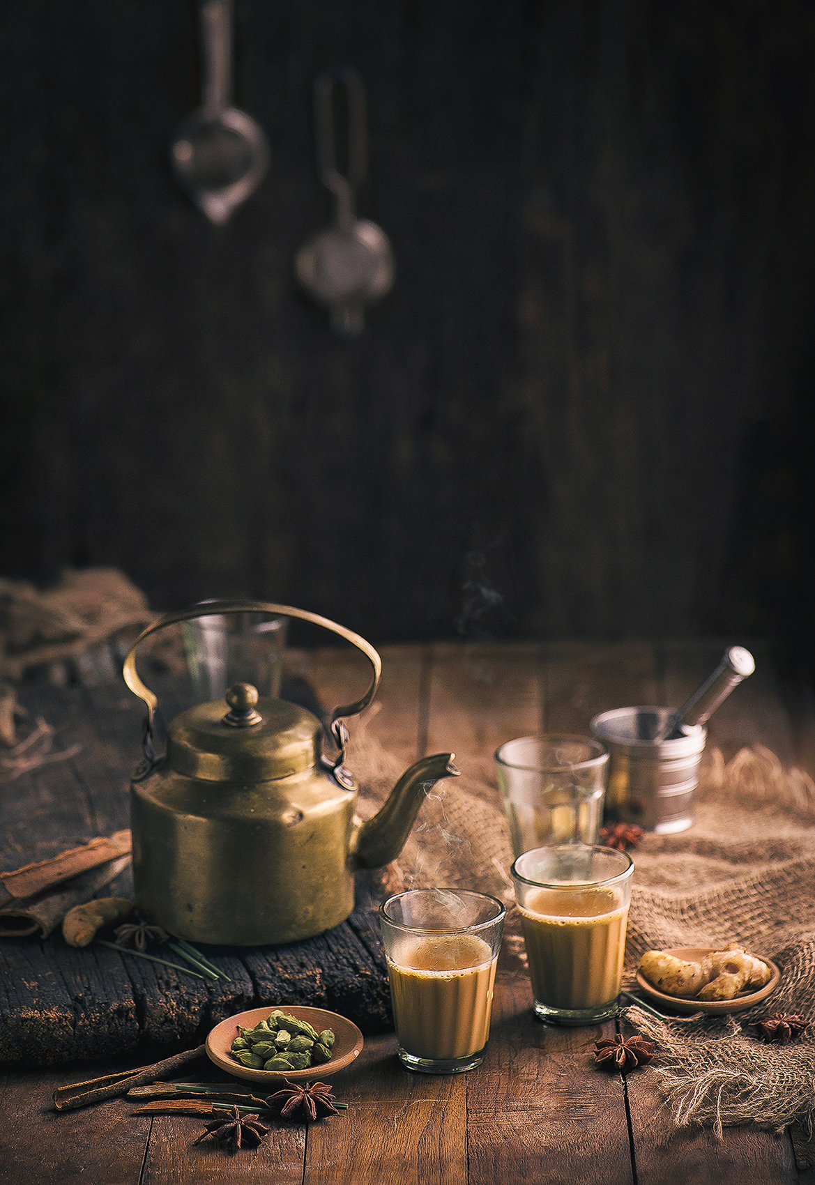 Tea is my favourite thing to consume any time of the day. Recreated this' Tapri' ambience in my house to shoot this.