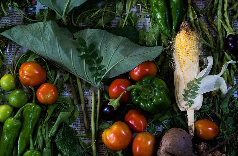 Usual scene of cleaning / washing daily vegetables in lockdown. Just a playful array with different forms and textures.