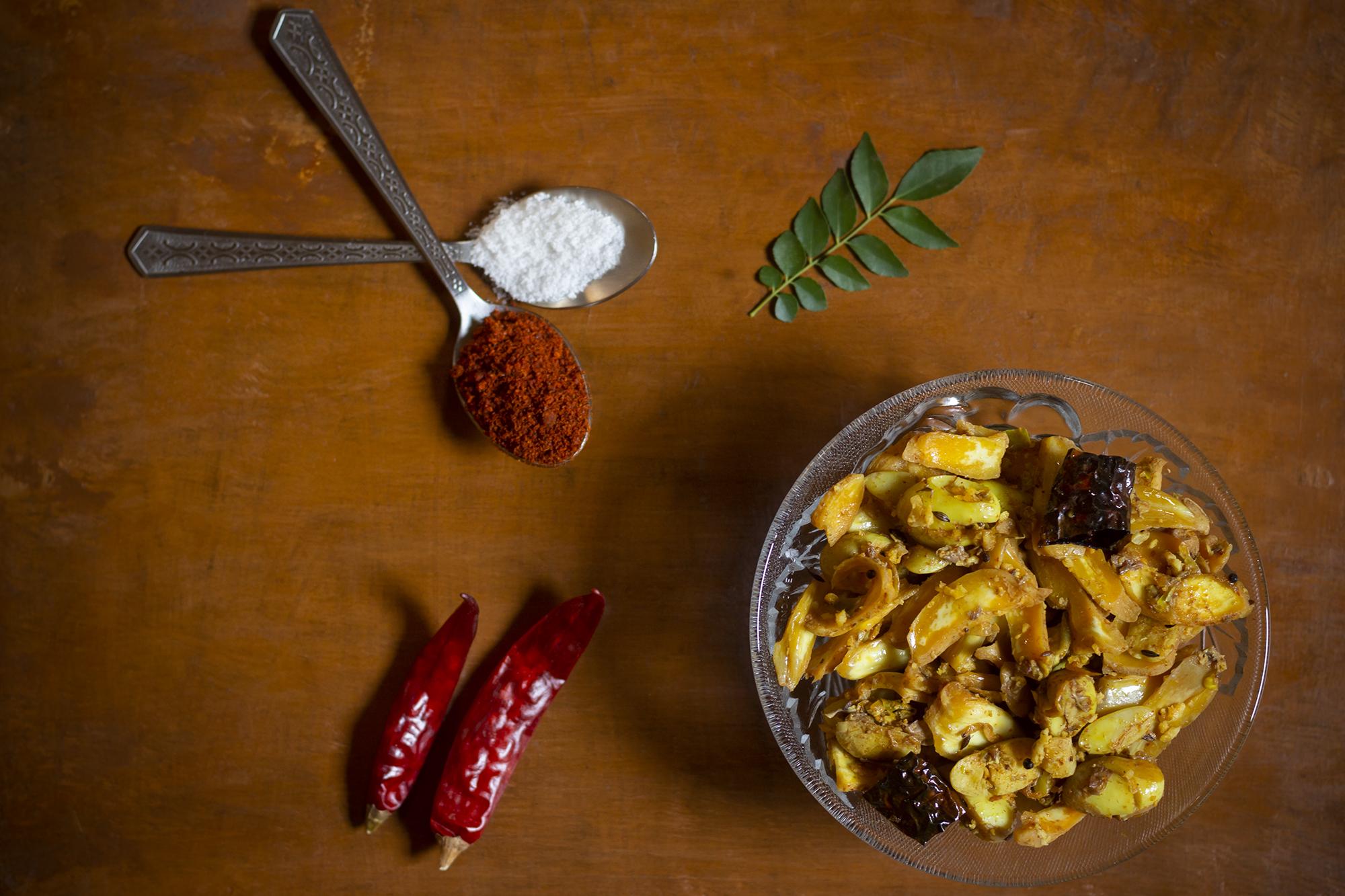 A traditional savory dish of raw jackfruit from Konkan region of Maharashtra