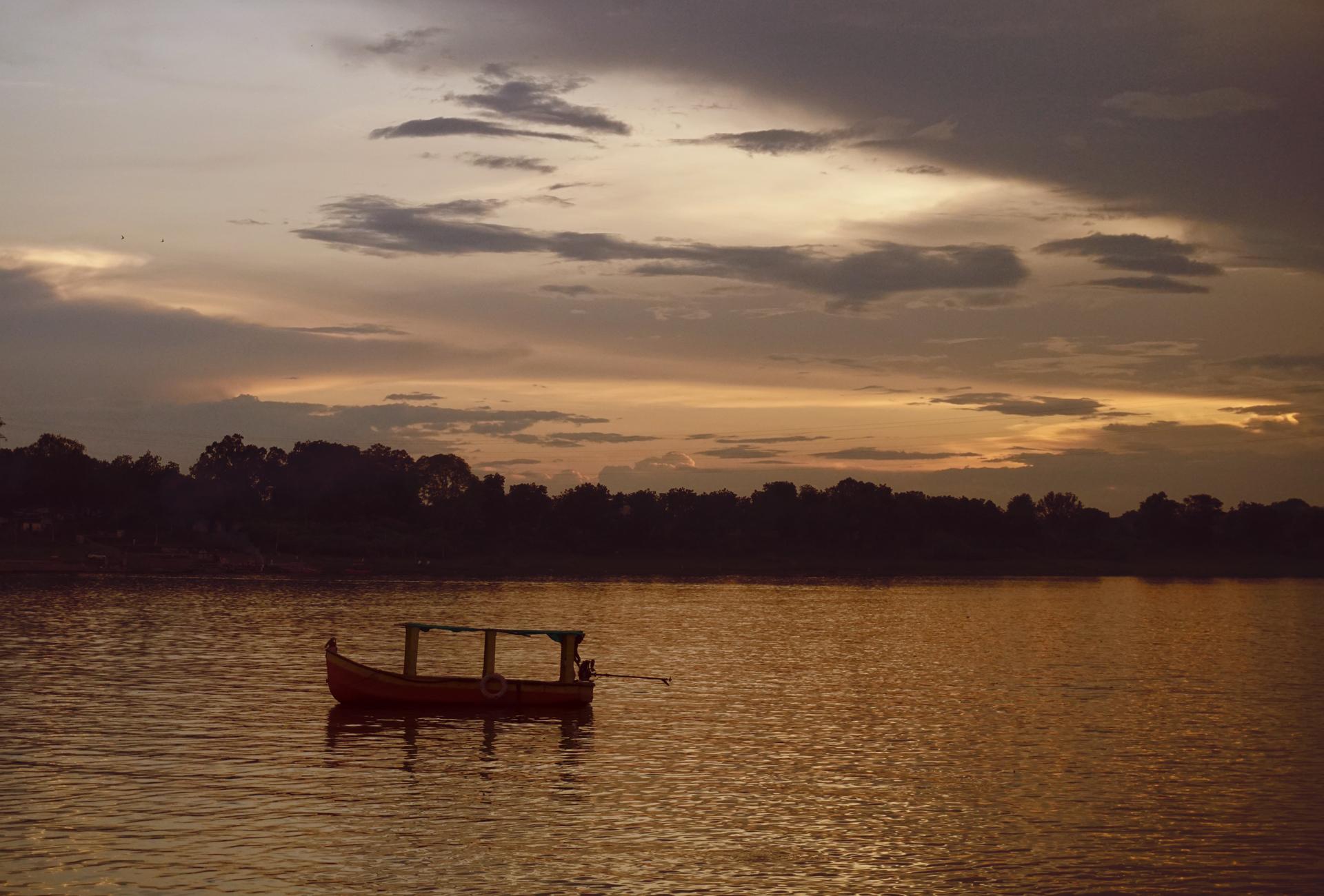 Rainy season with combination of floating clouds and sunrise, sunset saffron hue has enchanting moods.
