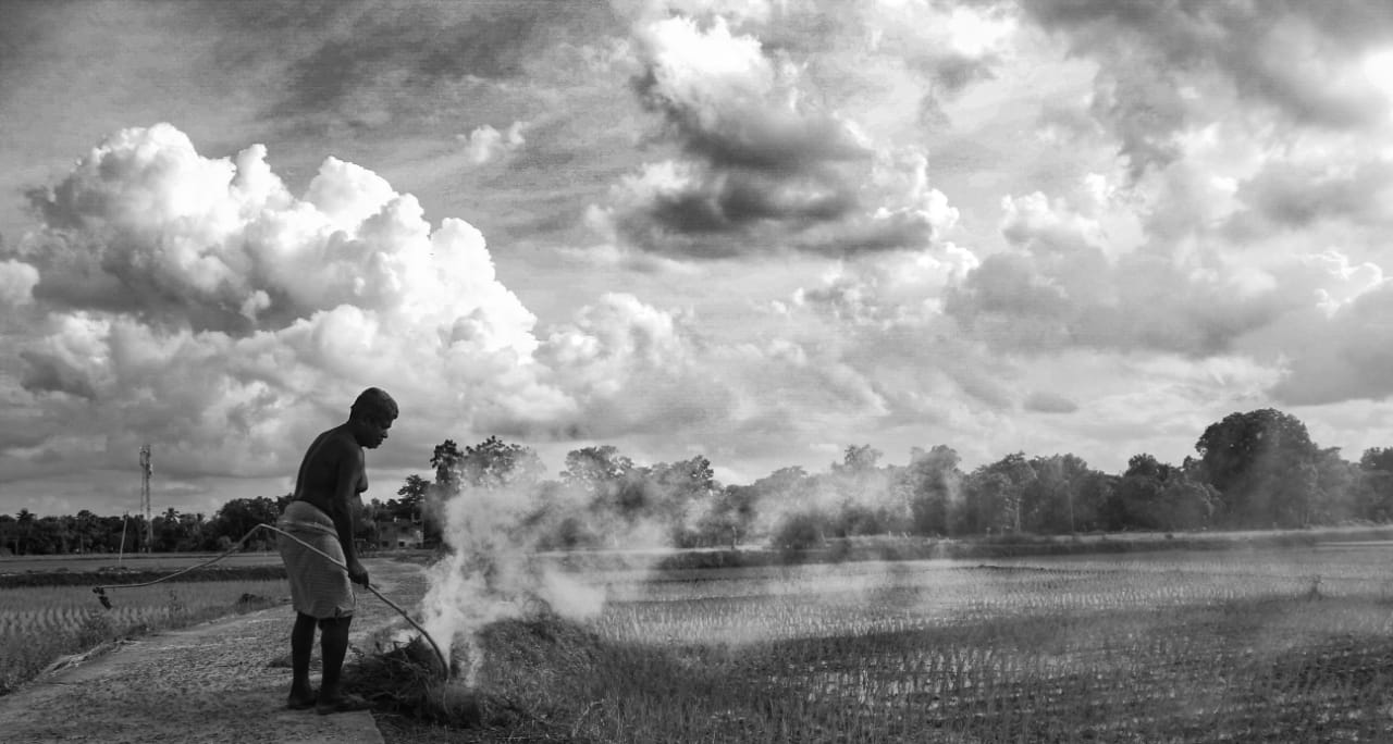 This is a picture of a farmer burning his rotten crops and it seems like as if the smoke arising from the burning crops is getting mixed with the clouds, it seems that the clouds are being formed from the arising smoke
