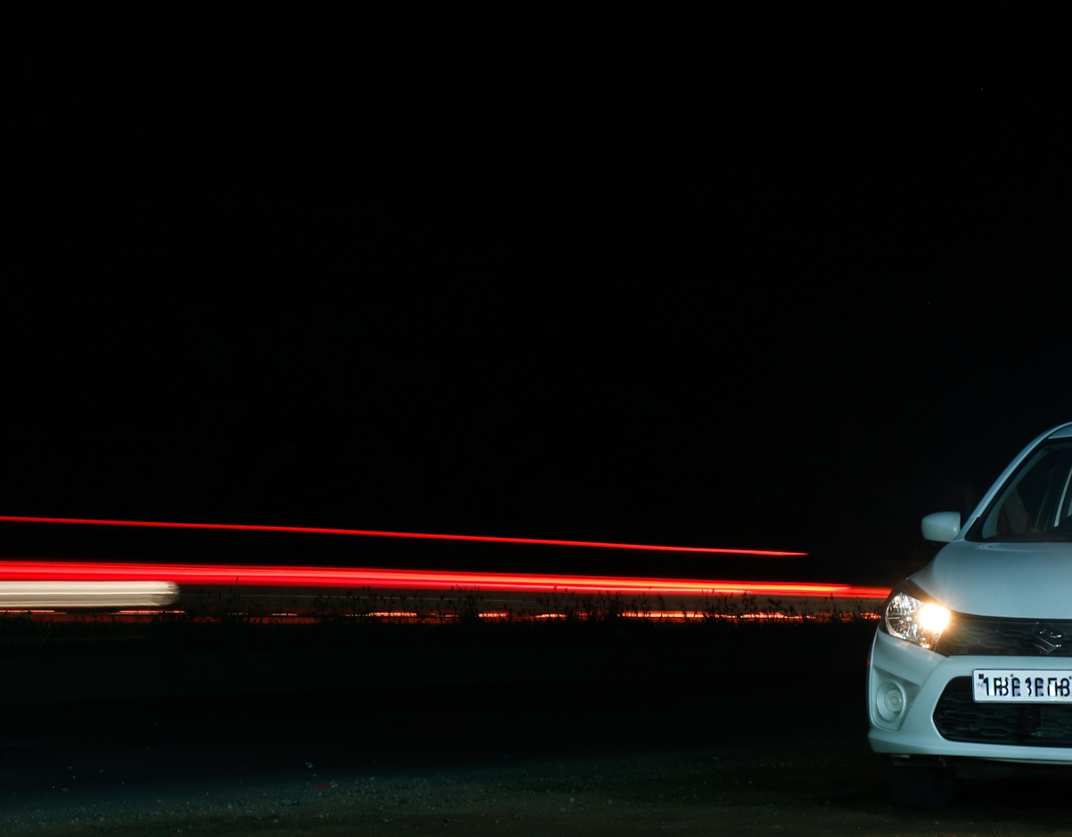Long exposure on highway.this looks like an light coming through the car.Magic of long exposure