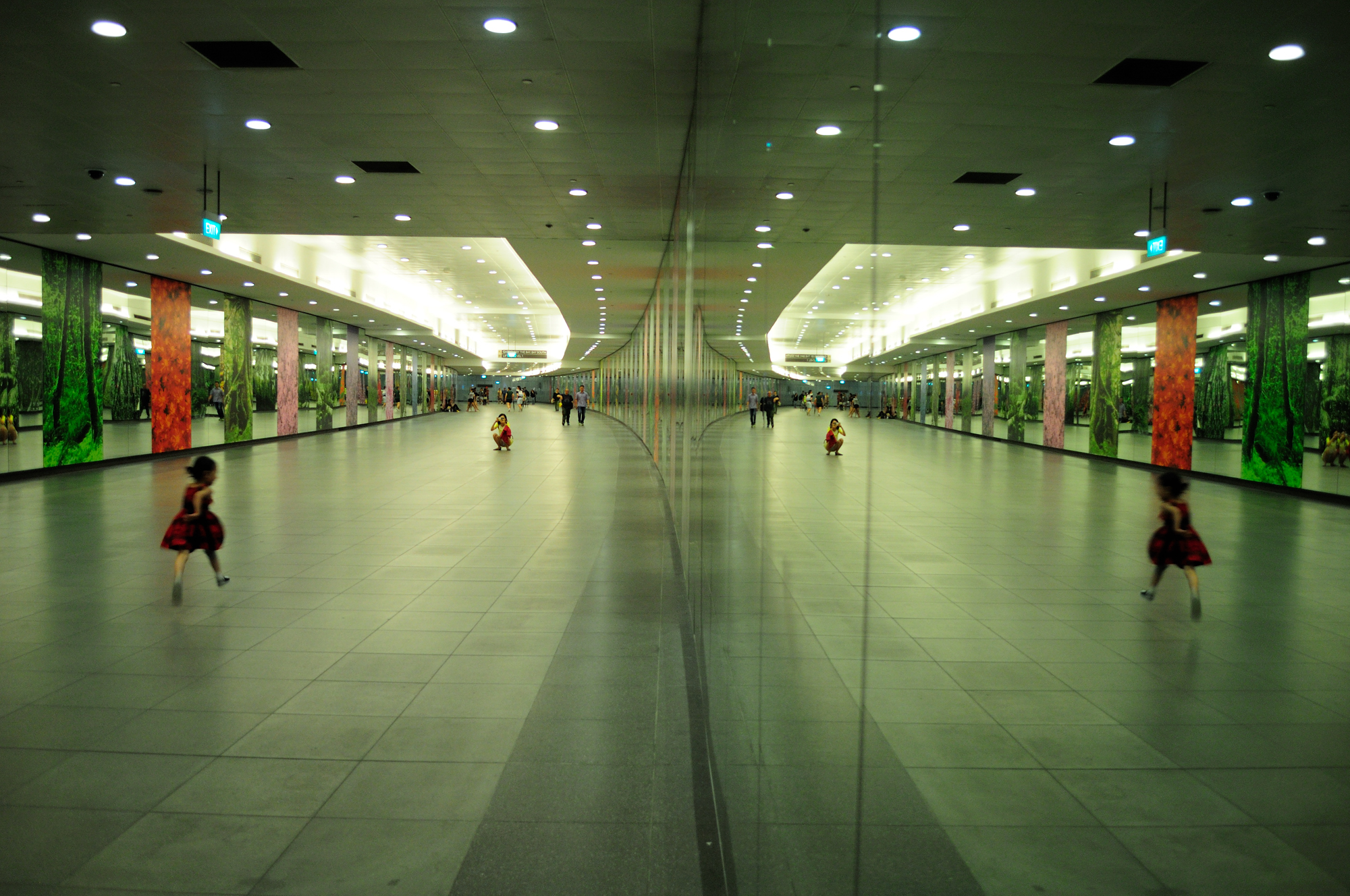 A scene at the Bayfront MRT station in Singapore.