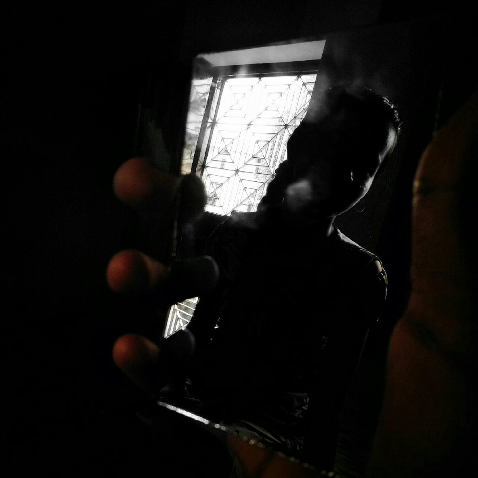 This picture depicts on the other side of the mirror In this picture a girl is looking at mirror in a dark life to Mela this picture is taken iow light.