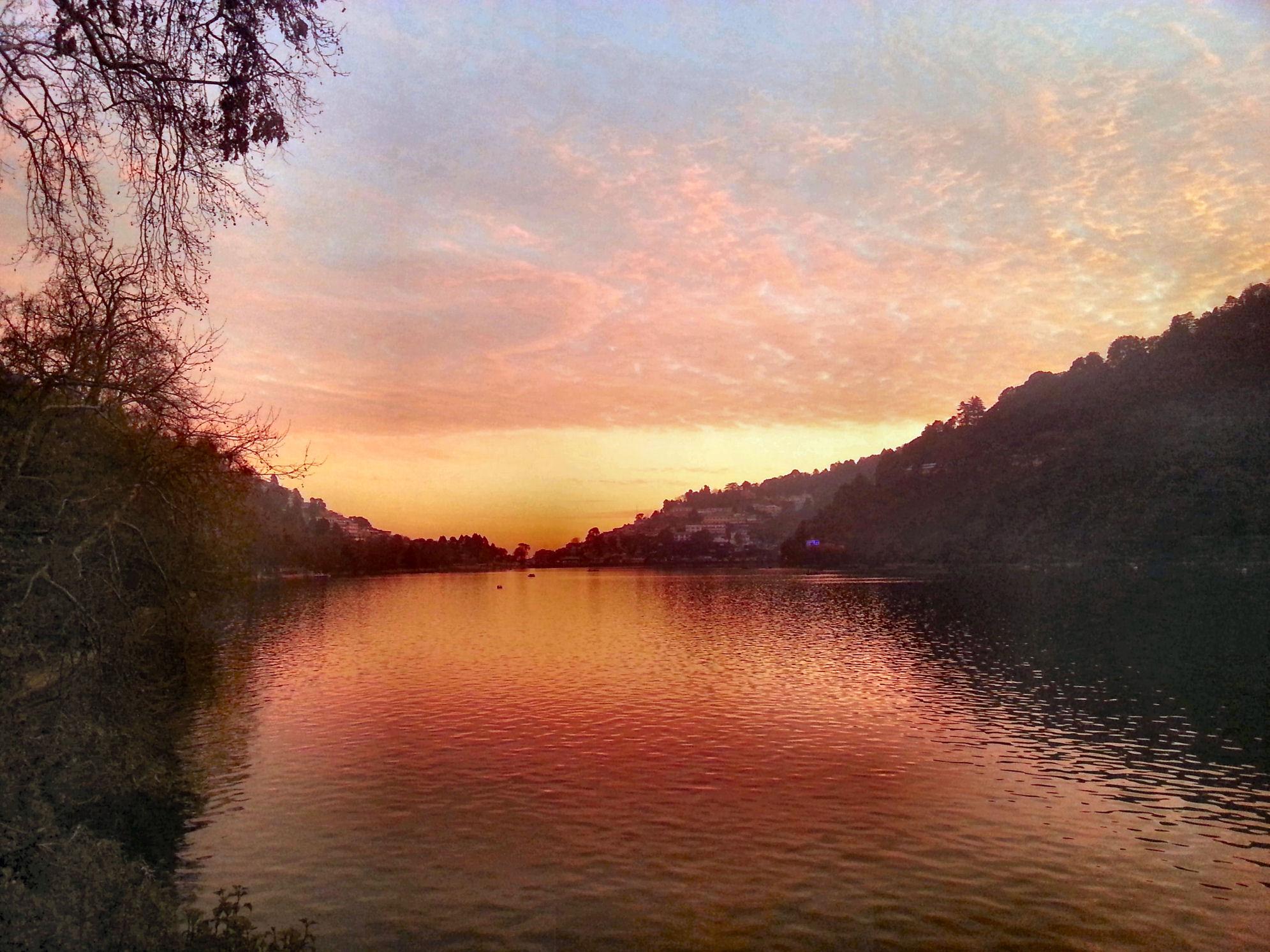 Picture taken during a vivid winter sunset at Naini Lake, Nainital, Uttarakhand, India