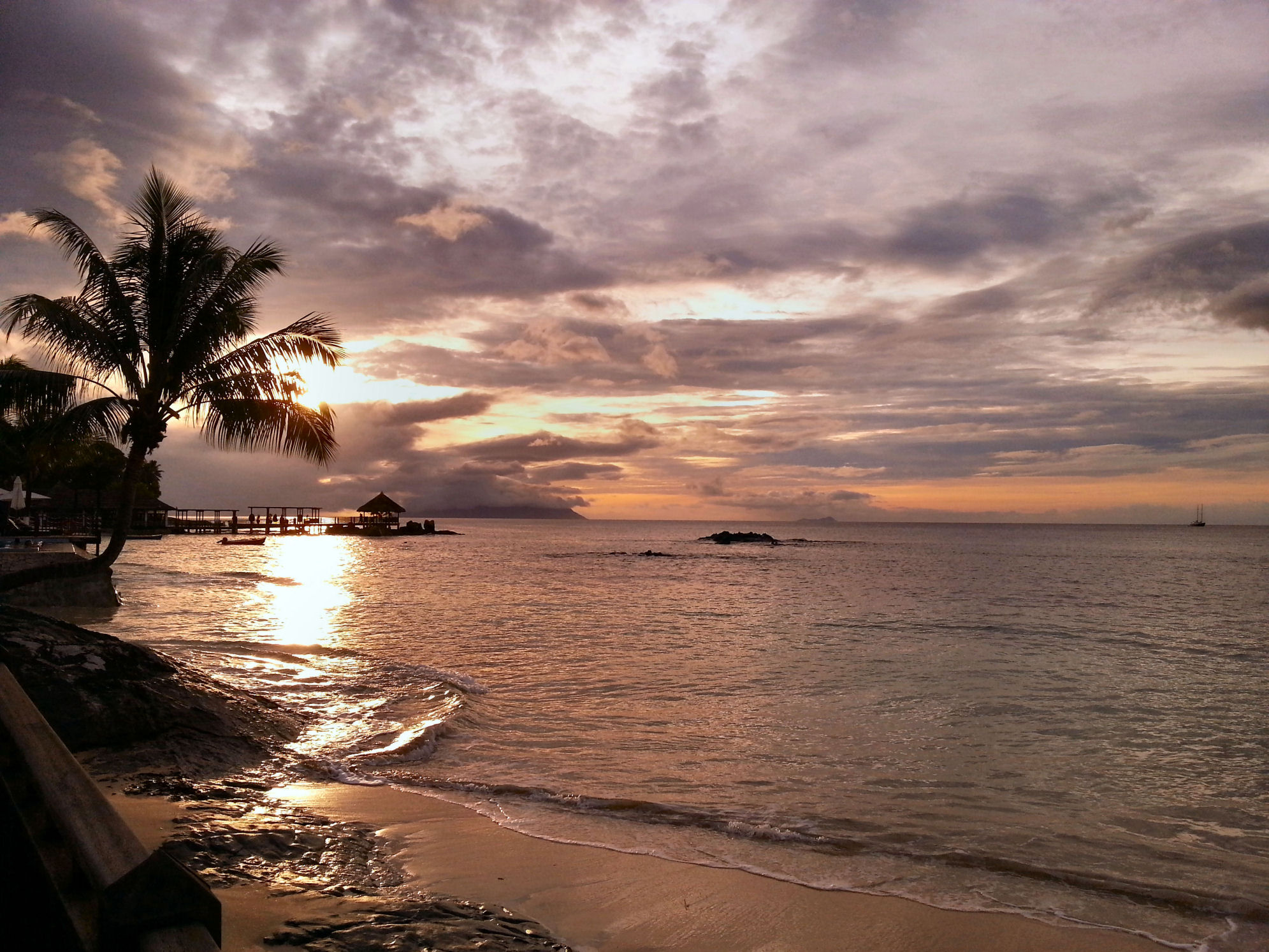 Sunset view from Le Meridien FIsherman's Cove in Mahe Island, Seychelles
