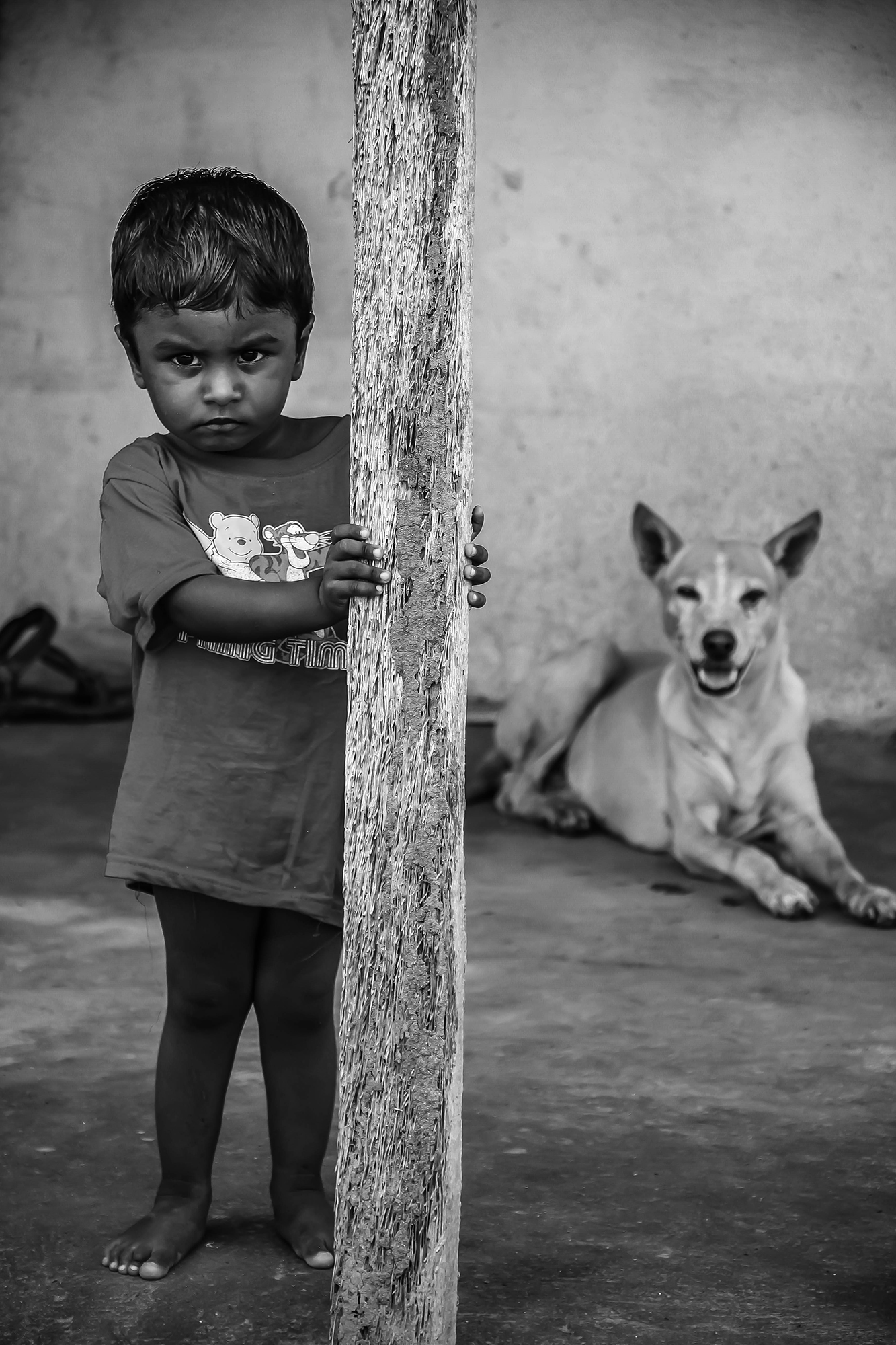 My cousin's younger brother in a village.