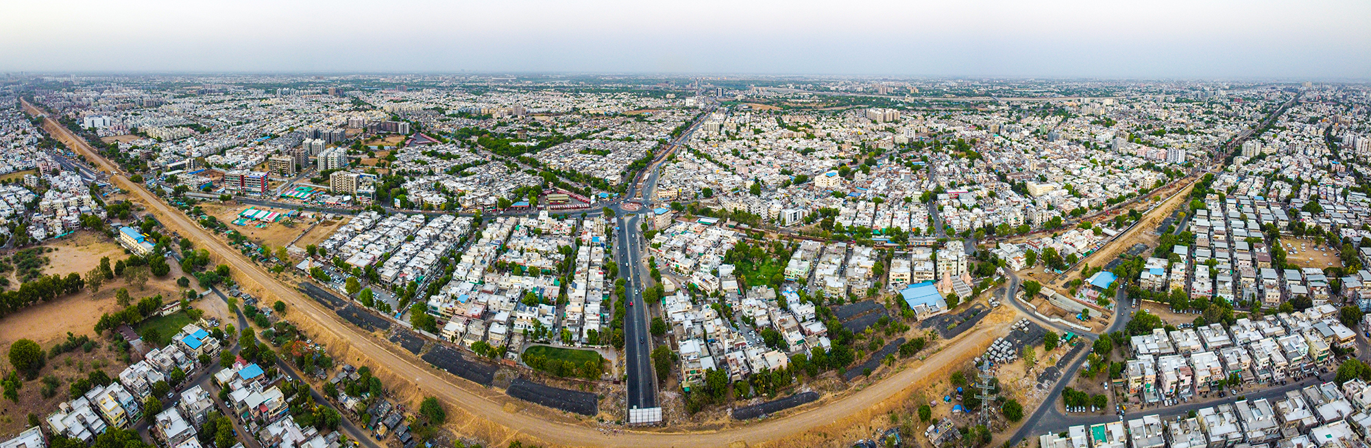 Looks like a Big Smile, as we look at the city of Ahmedabad expanding on both the sides.