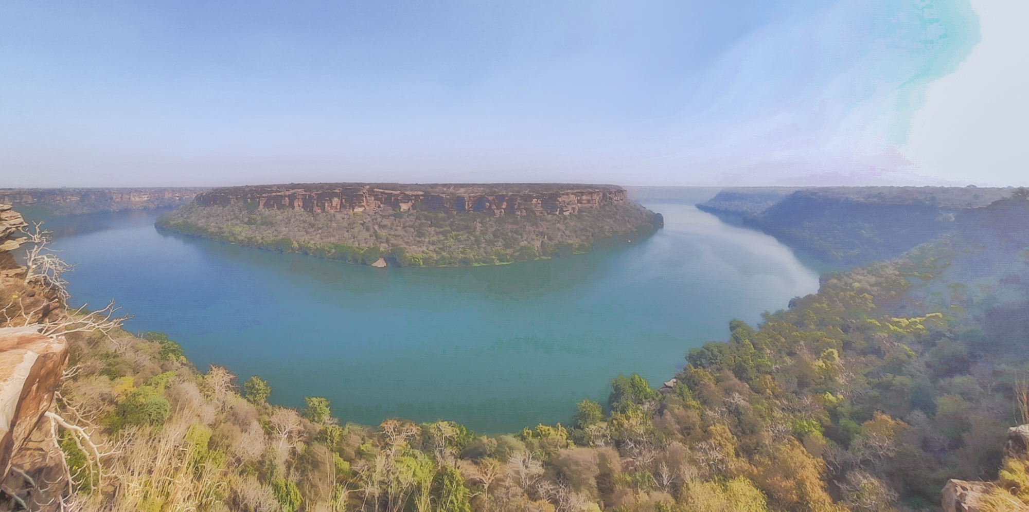 Magnificent view of Chambal river and the plateau as seen from Mukundra Hills National Park in Rajasthan.
