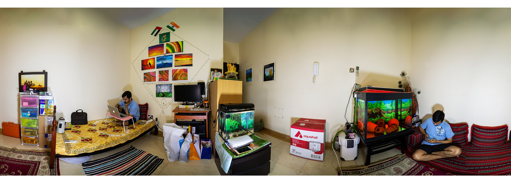 A work from home situation during the Pandemic. The entire life revolves withing the 4 walls of my house. One corner is the workstation while the other corner is the recreation center.