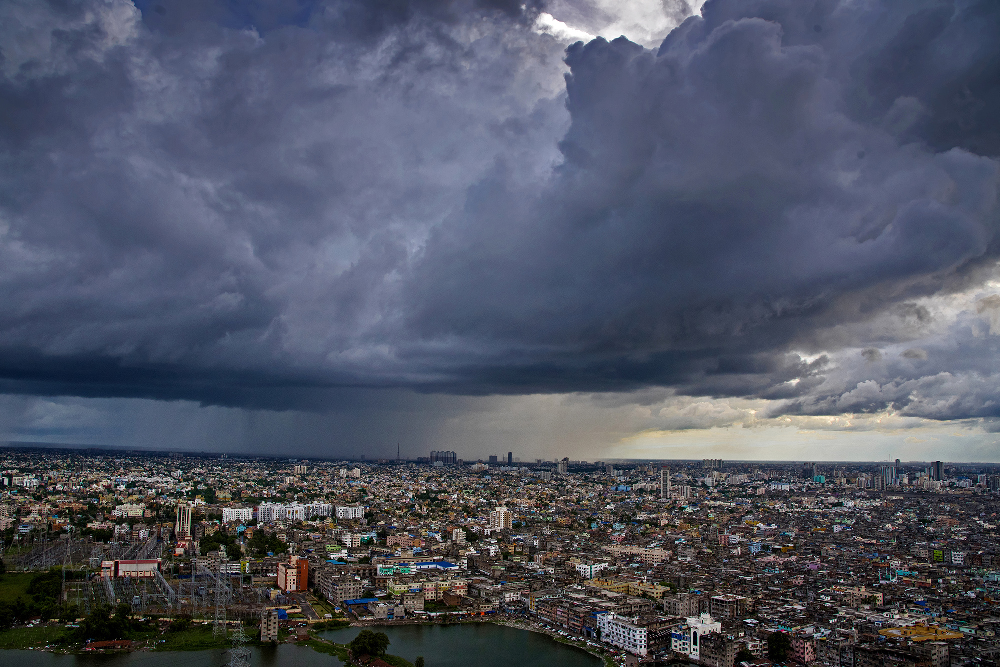 Dark monsoon clouds gather over the City of joy.