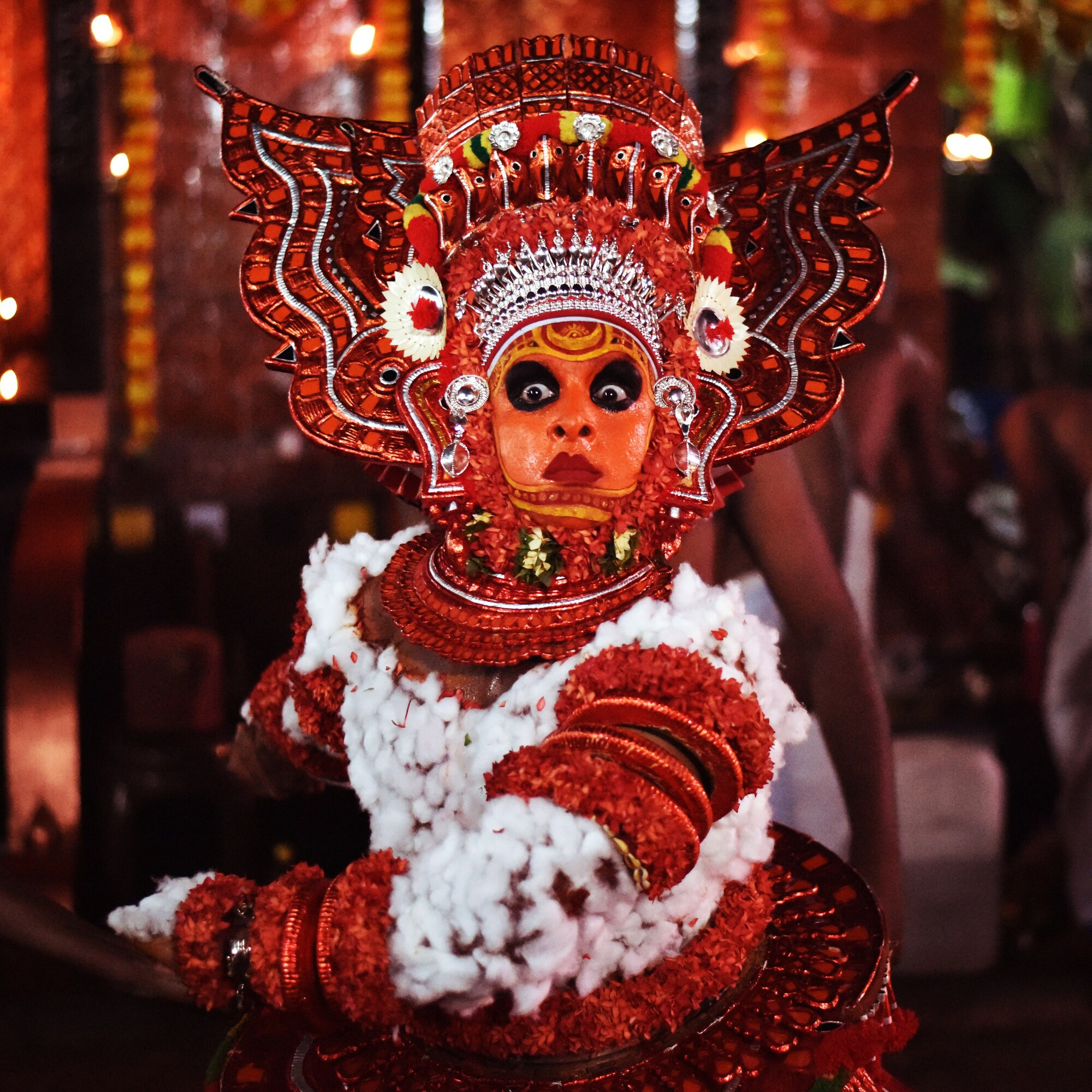 It was from a traditional theyyam event in Kerala so this portrait from theyyam artist , made me feel how strong they are in thr cultures and practices