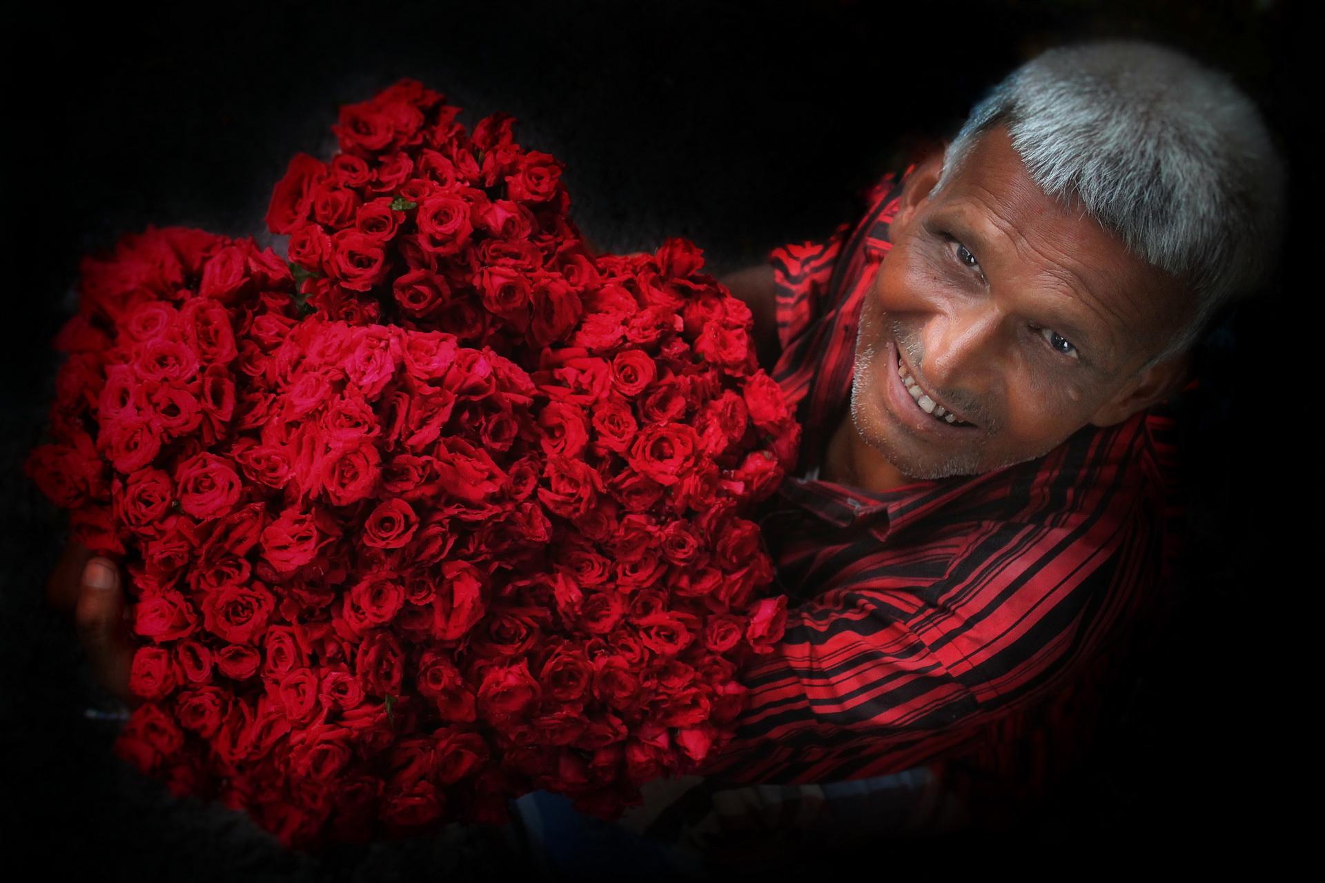 Portrait of a flower seller.