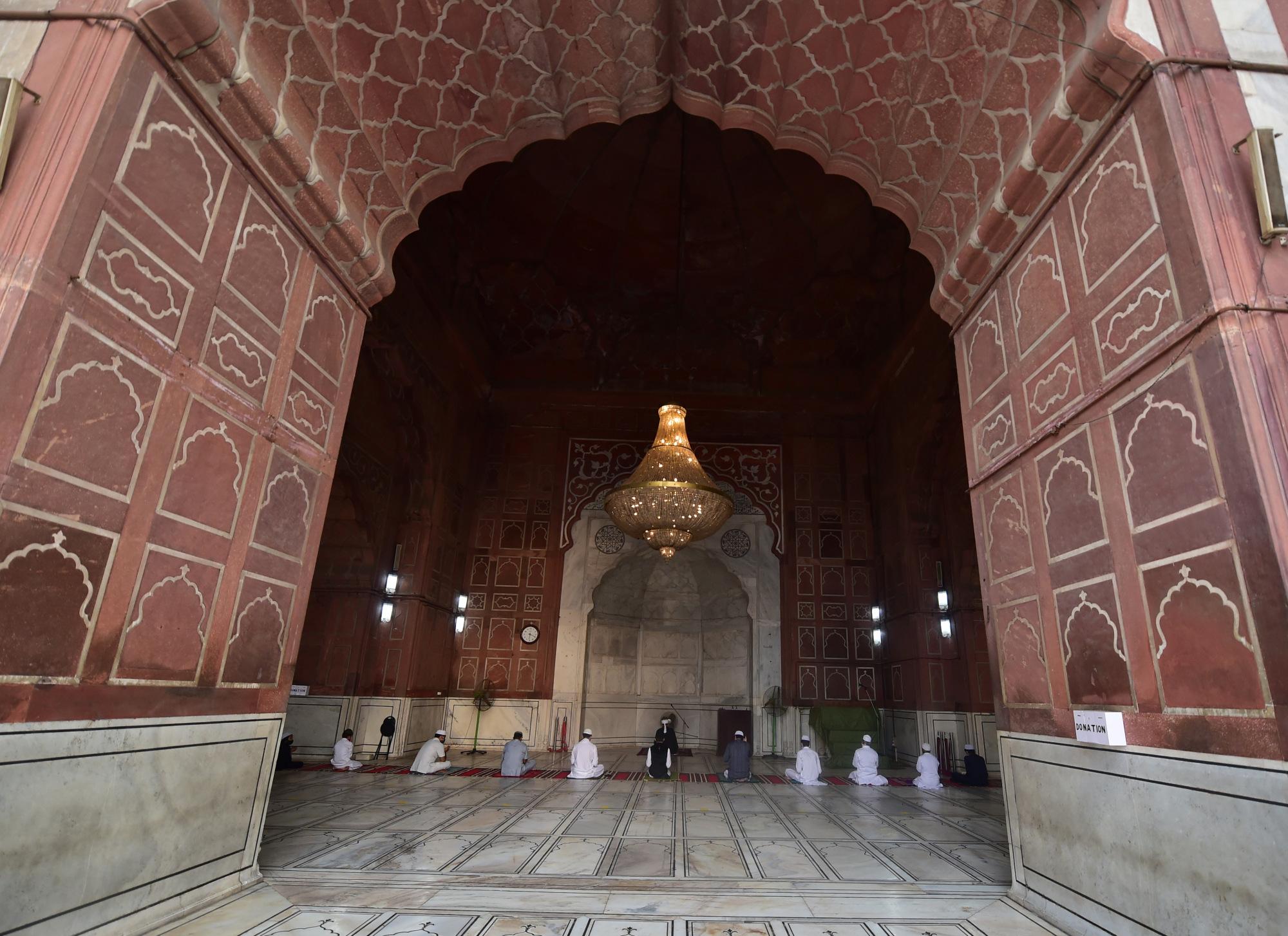 Devotees offer namaz at Jama Masjid