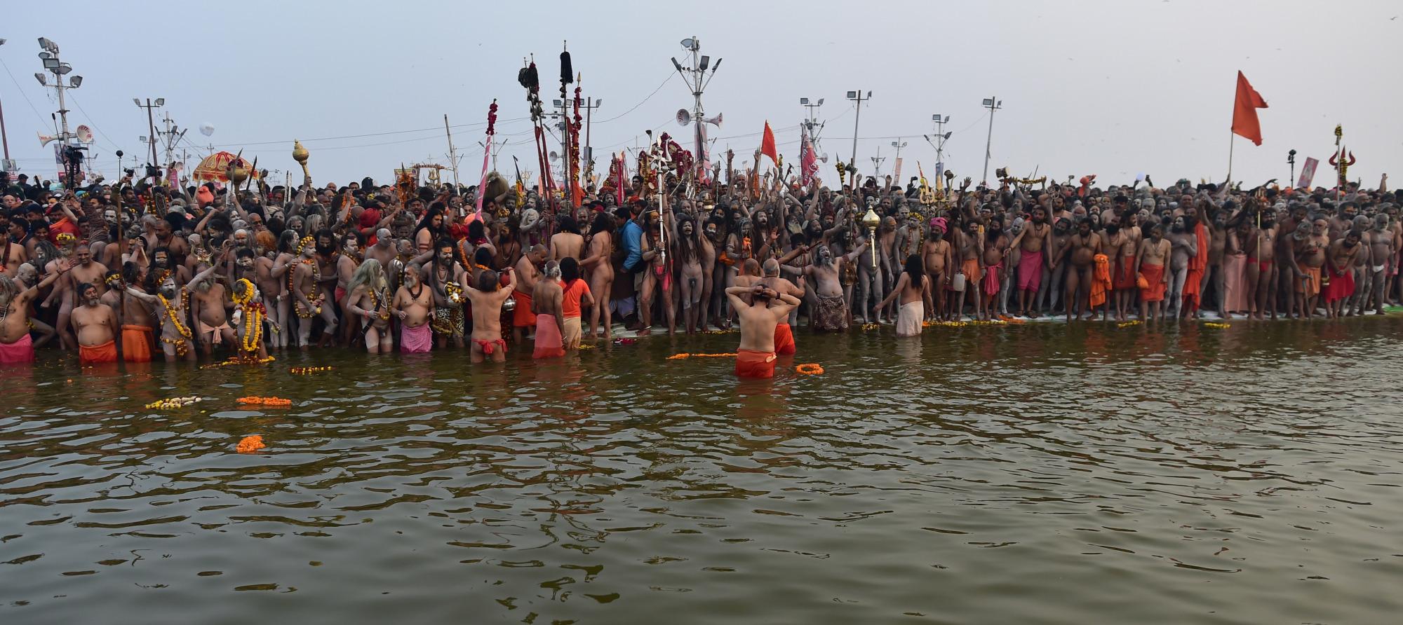 Sadhus take holy dip on the occasion of 'Mauni Amavasya' at Sangam during the Kumbh Mela 2019