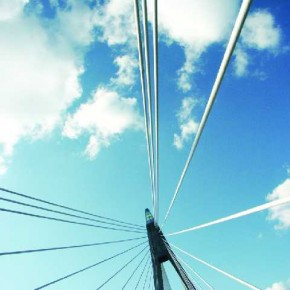 An unusual perspective of a bridge makes this image seem three-dimensional as the white wires appear to be breaking out of the frame, moving towards the viewer. Photograph/Andrea Paroni