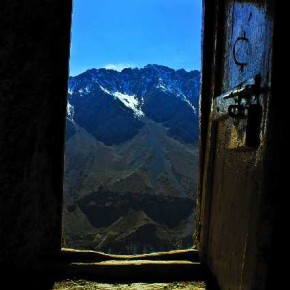The open doorway graphically frames the blue mountains. Also, the doorway gives the impression that it opens up into the sky. Photograph/Kaushik Ghosh