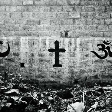 The photograph shows the irony behind the use of religious symbols to convey a civic statement. Photograph/Vivek Vilasini