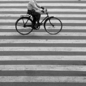 "Title: Crossings ""The stripes on the road looked attractive so I kept on shooting until a human element was added in the frame."" Camera: Sony Cyber-shot DSC-N2 ISO: 200 Aperture: f/8 Shutterspeed: 1/800sec Photograph by Sandip Niroula, Kolkata"